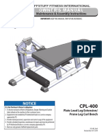 Evolution Leg Extension / Prone Leg Curl Bench (CPL-400) Owner's Manual