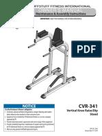 TuffStuff Vertical Knee Raise / Dip Stand (CVR-341) Owner's Manual