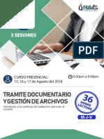 CURSO TRÁMITE DOCUMENTARIO Y GESTIÓN DE ARCHIVOS (AGOSTO 2018)