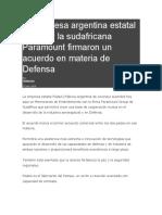 La Empresa Argentina Estatal FAdeA y La Sudafricana Paramount Firmaron Un Acuerdo en Materia de Defensa