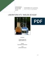 Análisis de agua, resultados de laboratorio.