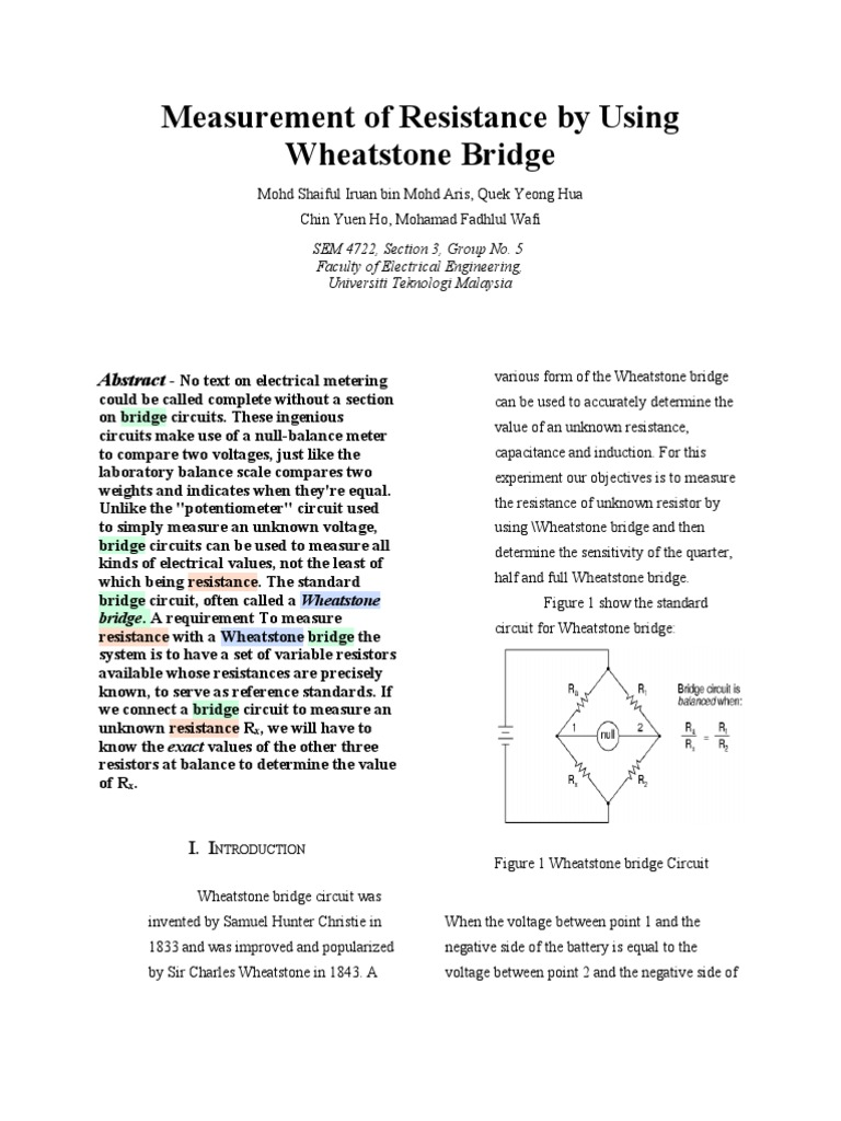 Full Report Resistor Amplifier Wheatstone Bridge Wiring Diagram