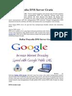 Daftar Penyedia DNS Server Gratis