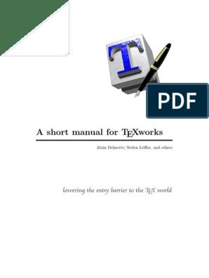 TeXworks Manual   Te X   Text
