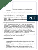 Live in Care Job Description