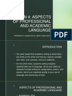 Eapp Lesson 4- Aspects of Professional & Academic Language