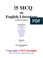 525 MCQ on English Literature (Without Option)