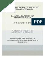 Informe, Alianza Regional por la libertad de expresión e información (SABER MÁS II)