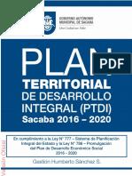 Documento PTDI Sacaba 2016-2020