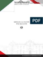 Mensaje presidencial de Martín Vizcarra (PDF)[28 de julio del 2018]