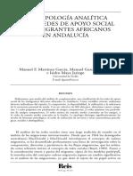 Una Tipologia Analítica de Las Redes de Apoyo Social en Inmigrantes Africanos en Andalucia