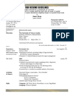 BBA Sample Resume With Directions