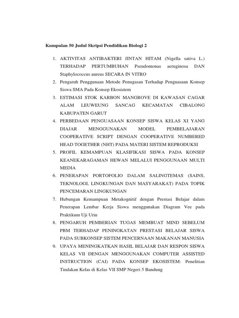 Contoh Proposal Skripsi Pendidikan Biologi Pdf Gambaran