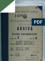 """Ordinul adjunctului ministrului de interne nr. 958 din 14.10.1976 privind acordarea distincţiei """"Unitate de frunte"""" Grupului de pompieri al judeţului Arad"""