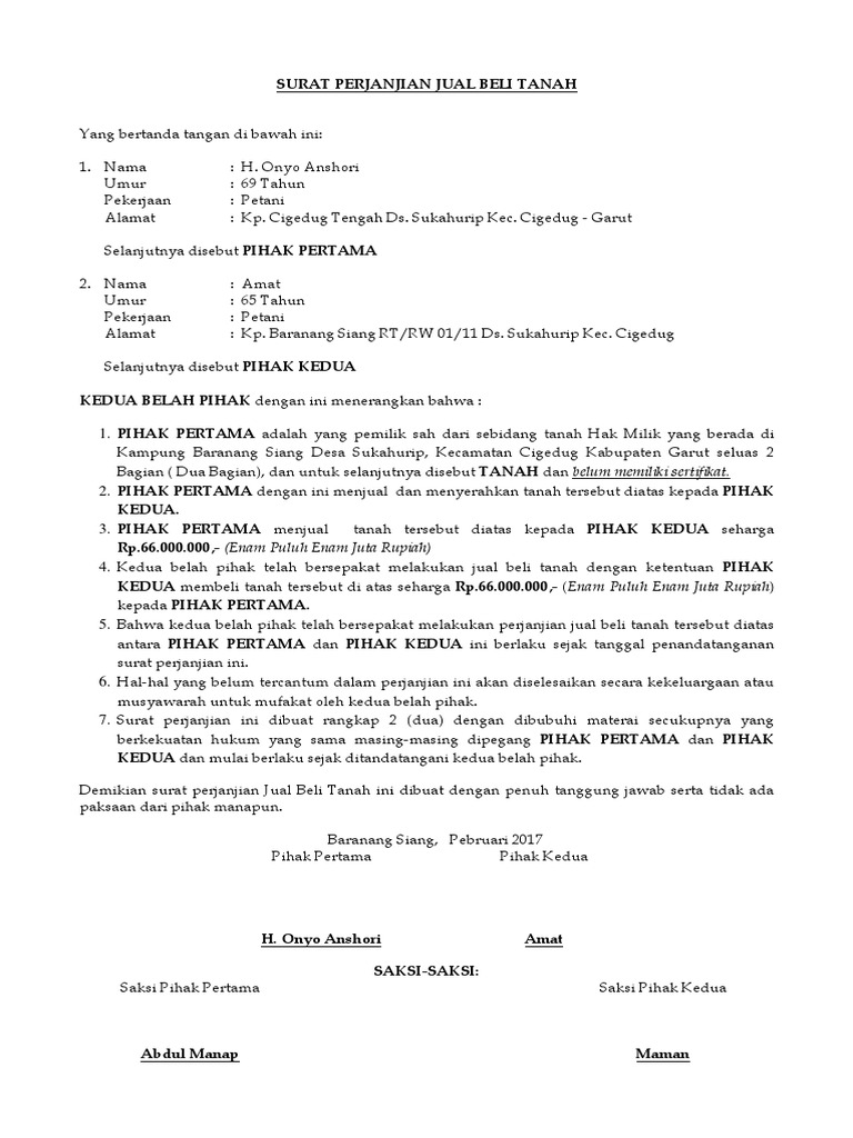 Contoh Surat Perjanjian Gadai Tanah