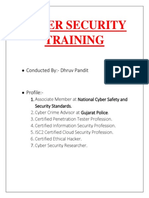 PROPOSAL CYBER SECURITY TRAINING docx | Computer Forensics