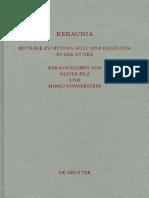 (Beiträge Zur Altertumskunde 298) Oliver Pilz, Mirko Vonderstein-Keraunia_ Beitrage Zu Mythos, Kult Und Heiligtum in Der Antike-Walter de Gruyter (2011)