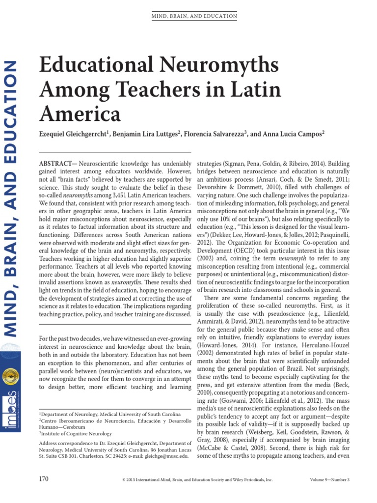 The High Cost Of Neuromyths In Education >> Educational Neuromyths Among Teachers In Latin America Effect Size