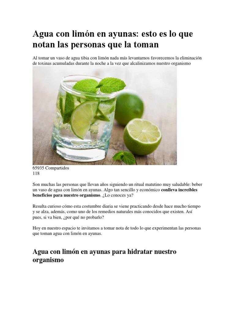Beneficios de agua con limon en la noche