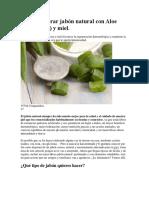 Cómo Elaborar Jabón Natural Con Aloe Vera