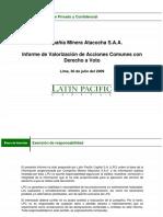 Valorización ATACOCHA OPA 09 Informe Valorizacion Atacocha