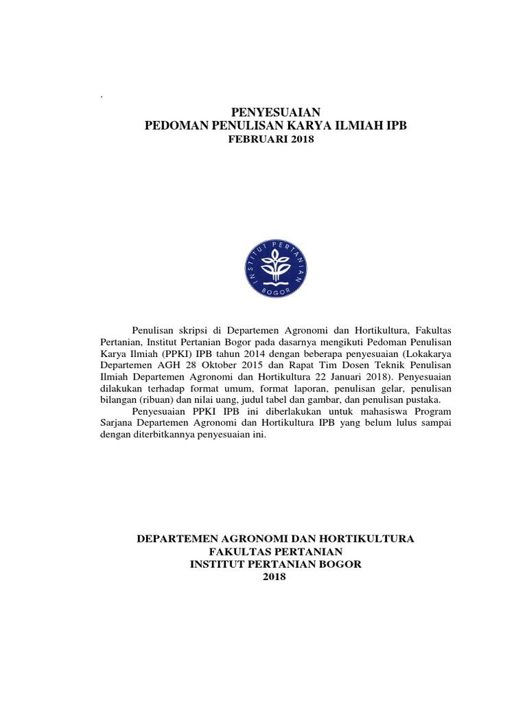 Edit Terbaru 2018 Penyesuaian Pedoman Penulisan Tugas Akhir Agh Greta
