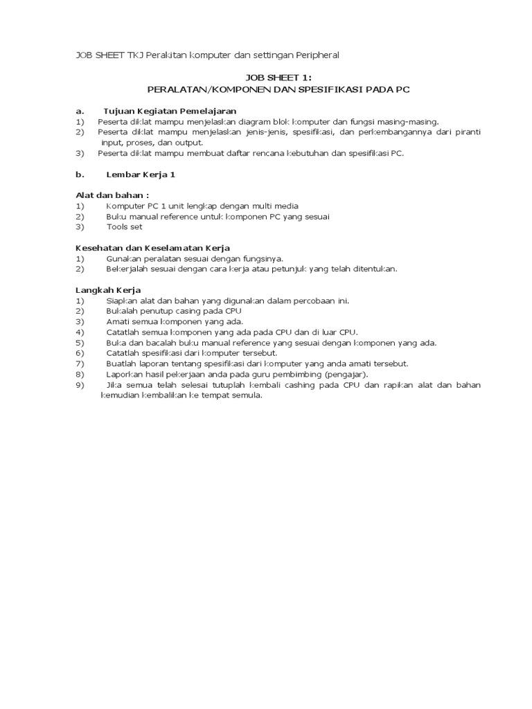 Job sheet tkj perakitan komputer dan settingan peripheralc ccuart Gallery