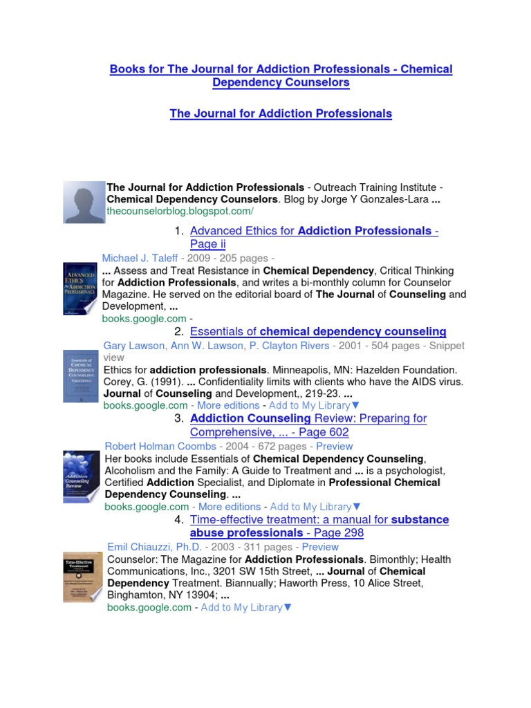 Books For The Journal For Addiction Professionals Chemical