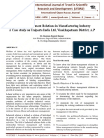 Labour-Management Relations in Manufacturing Industry A Case study on Uniparts India Ltd, Visakhapatnam District, A.P