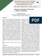 Employee Satisfaction and Quality of Work Life