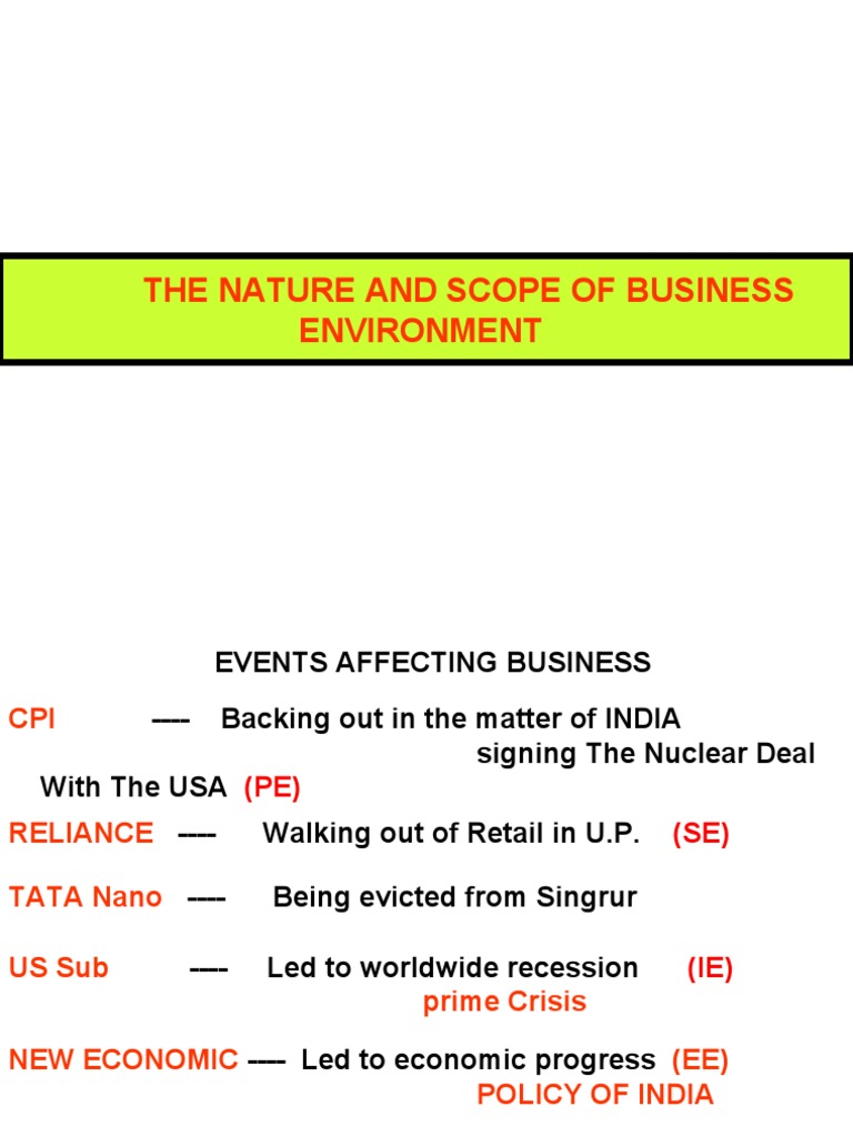 economic scope of business environment