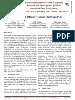 pH Control in Effluent Treatment Plant using PLC