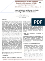Role and Requirement of Students and Teachers in Quality Enhancement of Higher Education Institutions