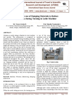 A Review on use of Damping Materials to Reduce Vibrations during Turning in Lathe Machine