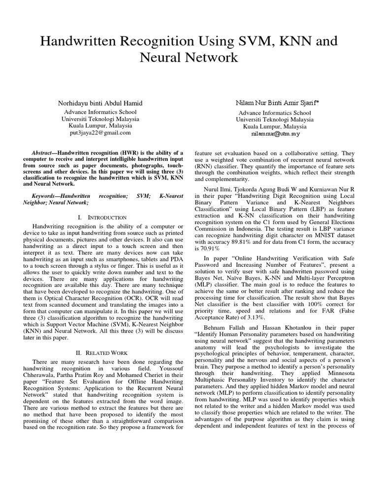 Handwritten Recognition Using SVM, KNN and Neural network pdf