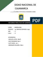 Informe Reconocimiento de Minerales en Gabinete Grupo 2 Ingenieria de Minas