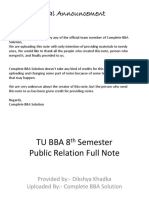 8th Semester Public Relation Marketing TU BBA Full Note
