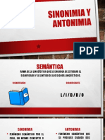 Sinonimia y Antonimia