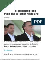 Partido de Bolsonaro Foi o Mais 'Fiel' a Temer Neste Ano