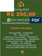 R$ 350,00 POR  TCC OU MONOGRAFIA WHATSAPP (21) 3942-6556   tccmonografia44@gmail.com (20)