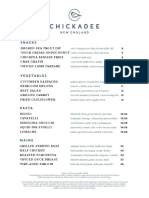 Chickadee Opening Dinner Menu