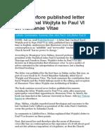 Letter of Cardinal Wojtyła to Paul VI on Humanae Vitae
