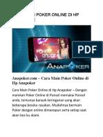 Cara Main Poker Online Di Hp Anapoker
