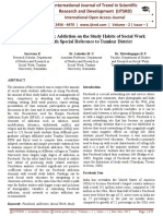 Impact of Facebook Addiction on the Study Habits of Social Work Students
