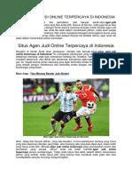 Situs Agen Judi Online Terpercaya Di Indonesia