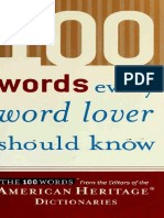 100 Words Every Word Lover Shou - American Heritage Publishing Co
