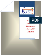Manual of Food Safety Management System, Fss Act 2006