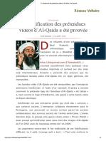 La falsification des prétendues vidéos d'Al-Qaida a été prouvée