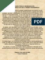 COMUNICADO PÚBLICO DE INDIGNACIÓN