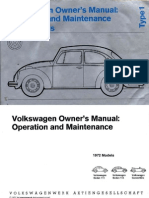 1972 Beetle Owners Manual